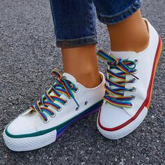 Femmes Toile Talon plat Chaussures plates Low Top bout rond Espadrille avec Dentelle chaussures