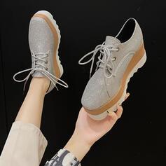 Mulheres Couro Sem salto Low Top Toe rodada Escorregar em Loafers & Slip-Ons com Lantejoulas Cor sólida sapatos