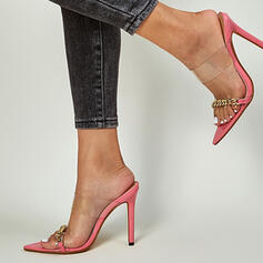 Women's PVC Stiletto Heel Sandals Pumps Peep Toe Slippers Pointed Toe With Chain Solid Color shoes