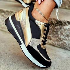 Femmes PU Autres Chaussures plates Low Top bout rond Tennis avec Dentelle Couleur d'épissure chaussures