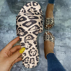 Women's PU Flat Heel Sandals Peep Toe Slippers With Animal Print Hollow-out shoes