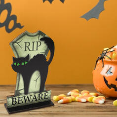 Colourful Gothic Horrifying Wall Mounted Black Cat Wooden Halloween Props Halloween Decorations (Sold in a single piece)