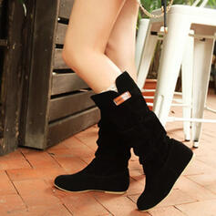 Women's Suede Wedge Heel Mid-Calf Boots Round Toe Winter Boots With Ruched Solid Color shoes