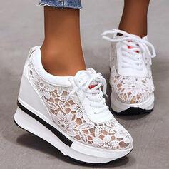 Femmes PU Autres Chaussures plates bout rond avec Ouvertes Une fleur Couleur unie chaussures