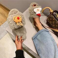Femmes Tissu Talon plat Sandales Chaussures plates À bout ouvert Chaussons avec Fourrure chaussures