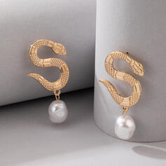 Attrayant Charme Artistique Délicat Alliage avec Perles Conception de serpent Femmes Dames Boucles d'oreilles