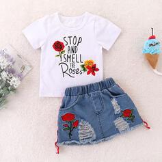 2-pieces Toddler Girl Letter Floral Print Cotton Set