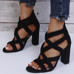 De mujer PU Tacón ancho Sandalias Salón Encaje con Agujereado Color sólido zapatos