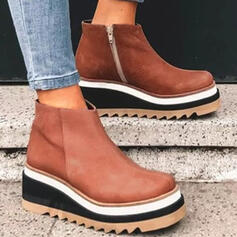 Women's PU Platform Boots With Zipper Colorblock shoes