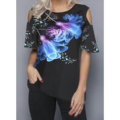 Print Cold Shoulder 1/2 Sleeves T-shirts