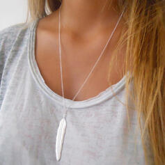 Simple Alloy With Feather Necklaces