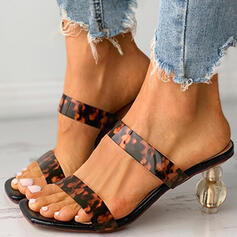 Women's PU Chunky Heel Sandals Peep Toe Slippers Heels With Hollow-out Splice Color shoes