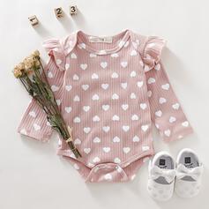 Baby Girl Adjustable Heart Ruffle Print Cotton One-piece