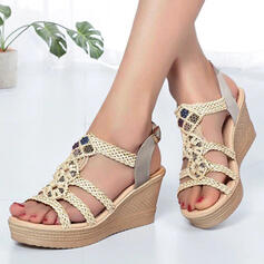 Women's PU Wedge Heel Sandals Platform Wedges Peep Toe With Beading Hollow-out shoes