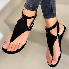 Femmes PU Talon plat Sandales Chaussures plates Tongs avec Rivet Ouvertes Couleur unie chaussures
