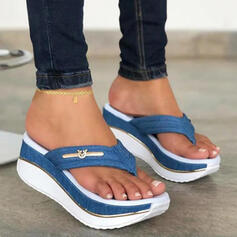 Femmes PU Talon compensé Sandales Plateforme Compensée Tongs Chaussons avec Bloc de couleur chaussures