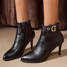 Mulheres PU Salto agulha Bombas Botas Low Top Saltos Dedo pontudo com Zíper sapatos