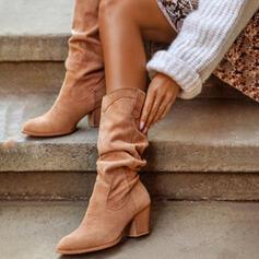 Femmes PU Talon bottier Bottes mi-mollets Talons Bout pointu avec Plissé Couleur unie chaussures