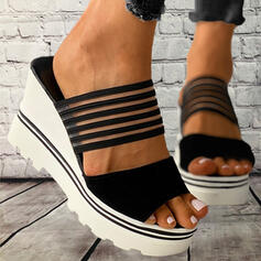 Women's PVC Wedge Heel Sandals Slippers With Hollow-out Bandage Striped shoes