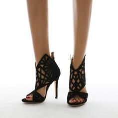 Women's PU Stiletto Heel Sandals Pumps Peep Toe Heels With Hollow-out Solid Color shoes