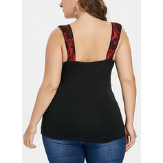Print Square Collar Sleeveless Casual Sexy Plus Size Tank Tops