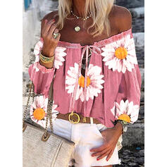 Print Floral Lace-up Off the Shoulder 3/4 Sleeves Casual Blouses