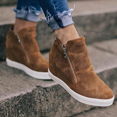 Women's Suede Wedge Heel Ankle Boots Round Toe With Zipper Solid Color shoes