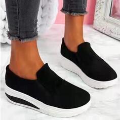 Femmes PU Talon plat Chaussures plates Plateforme bout rond Flâneurs Glisser sur avec Couleur d'épissure Couleur unie chaussures