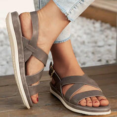 Women's PU Flat Heel Sandals Flats Peep Toe With Solid Color Crisscross shoes
