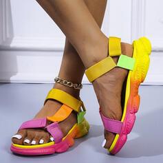 Mulheres PU Sem salto Sandálias Sem salto Plataforma Peep toe com Oca-out Velcro sapatos