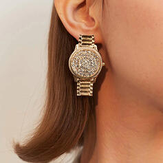 Clock Alloy Rhinestones With Rhinestone Women's Earrings 2 PCS