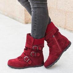 Mulheres PU Sem salto Botas Bota no tornozelo Botas de neve Botas de inverno com Fivela sapatos