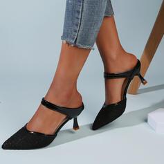 Mulheres Pano Malha Salto de gatinha Sandálias Bombas Fechados Chinelos Dedo pontudo com Oca-out Cor sólida sapatos