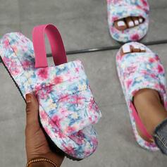 Femmes Suède Talon plat Sandales Plateforme À bout ouvert Escarpins Chaussons avec Élastique Imprimé fleur chaussures