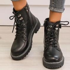 De mujer PU Tacón ancho Botas Martin botas Encaje con Hebilla Cremallera Cordones Color sólido zapatos