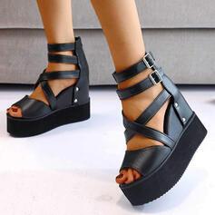 Women's PU Wedge Heel Sandals Wedges Peep Toe Heels Round Toe With Buckle Solid Color Crisscross shoes
