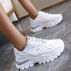 Women's Cloth Mesh Flat Heel Flats Sneakers With Lace-up Splice Color shoes