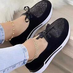 Femmes PU Autres Chaussures plates bout rond avec Strass Dentelle Inmprimé chaussures