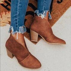 De mujer Ante Tacón ancho Botas Botas al tobillo con Color sólido zapatos