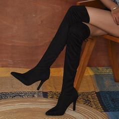 Mulheres Camurça Salto agulha Bota em cima do joelho Dedo pontudo com Aplicação de renda Cor sólida sapatos
