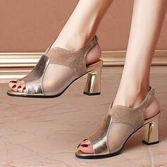 De mujer Cuero Malla Tacón ancho Sandalias Encaje Tacones con Estampado de animales Agujereado zapatos