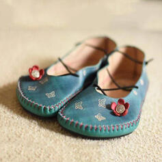 Women's PU Flat Heel Flats With Flower Splice Color shoes