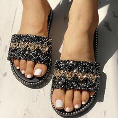 Women's PVC Flat Heel Sandals Peep Toe Slippers With Rhinestone Sequin shoes