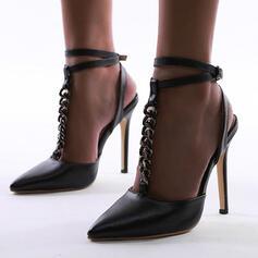 De mujer PU Tacón stilettos Salón Cerrados Tacones Dedo del pie puntiagudo con Hebilla Cadena zapatos