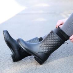 Mulheres Homens PU Sem salto Botas Botas na panturrilha Toe rodada com Cor sólida sapatos