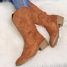 De mujer Ante Tela Tacón ancho Botas longitud media Dedo del pie puntiagudo con Cremallera Color sólido Bordado zapatos