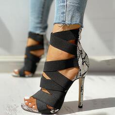Women's PU Stiletto Heel Sandals Pumps Peep Toe With Animal Print Zipper shoes