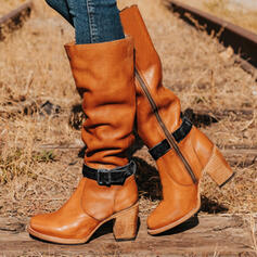Women's Leatherette Chunky Heel Knee High Boots Martin Boots Round Toe Combat Boots With Buckle shoes