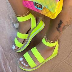 Women's Leatherette Wedge Heel Sandals Platform Wedges Peep Toe With Split Joint shoes