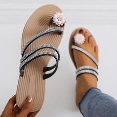 Femmes PU Talon plat Sandales Chaussons Anneau d'orteil avec Strass Perle d'imitation chaussures